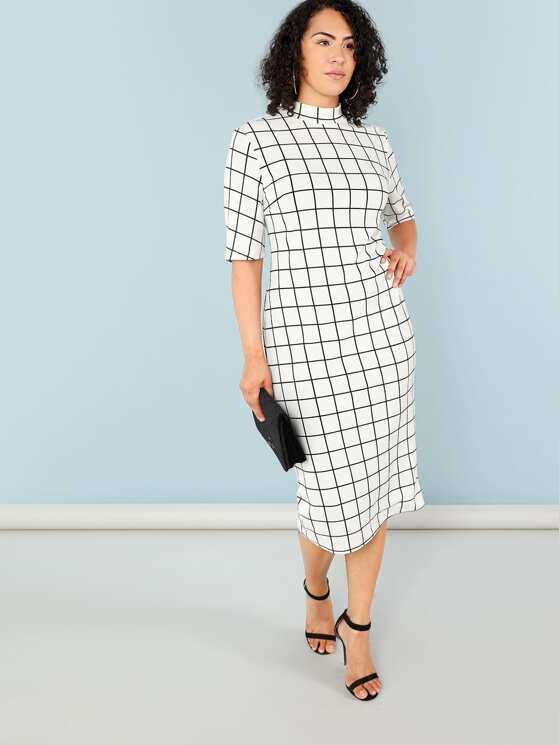 72f0cb9f048 Plus Mock Neck Grid Print Form Fitting Dress