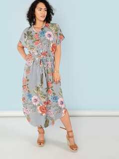 Stripe And Flower Print Curved Hem Shirt Dress