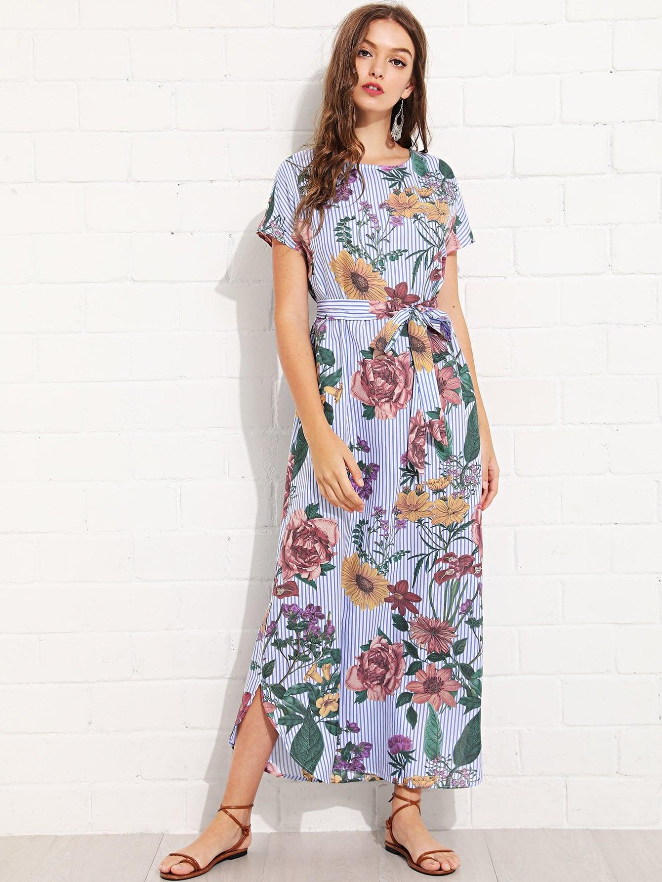 Flower and Striped Curved Hem Dress batwing sleeve pocket side curved hem textured dress