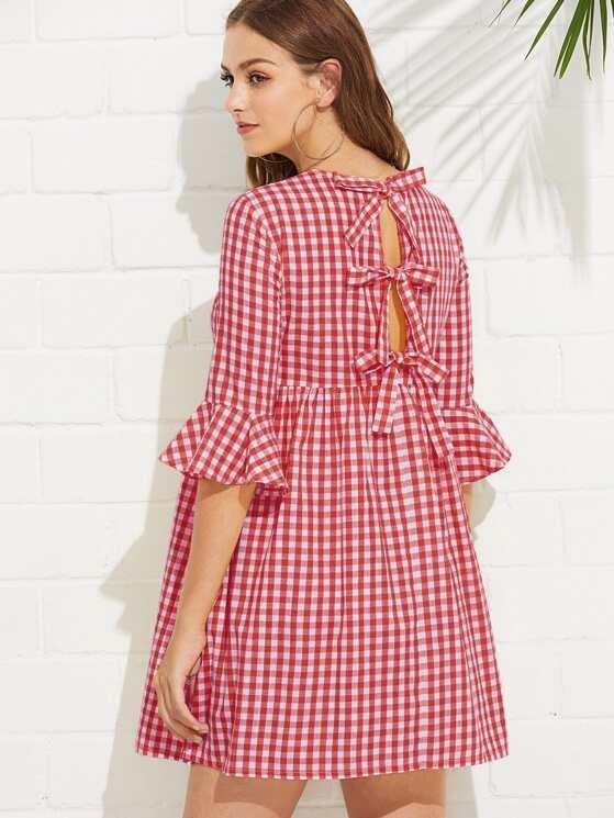 1d34e0d01 Bow Tie Open Back Fluted Sleeve High Waist Gingham Dress | MakeMeChic.COM