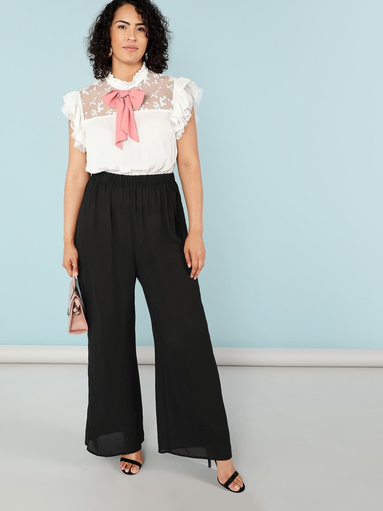Plus Tie Neck Ruffle Trim Color Block Jumpsuit choker neck embroidered ruffle trim jumpsuit