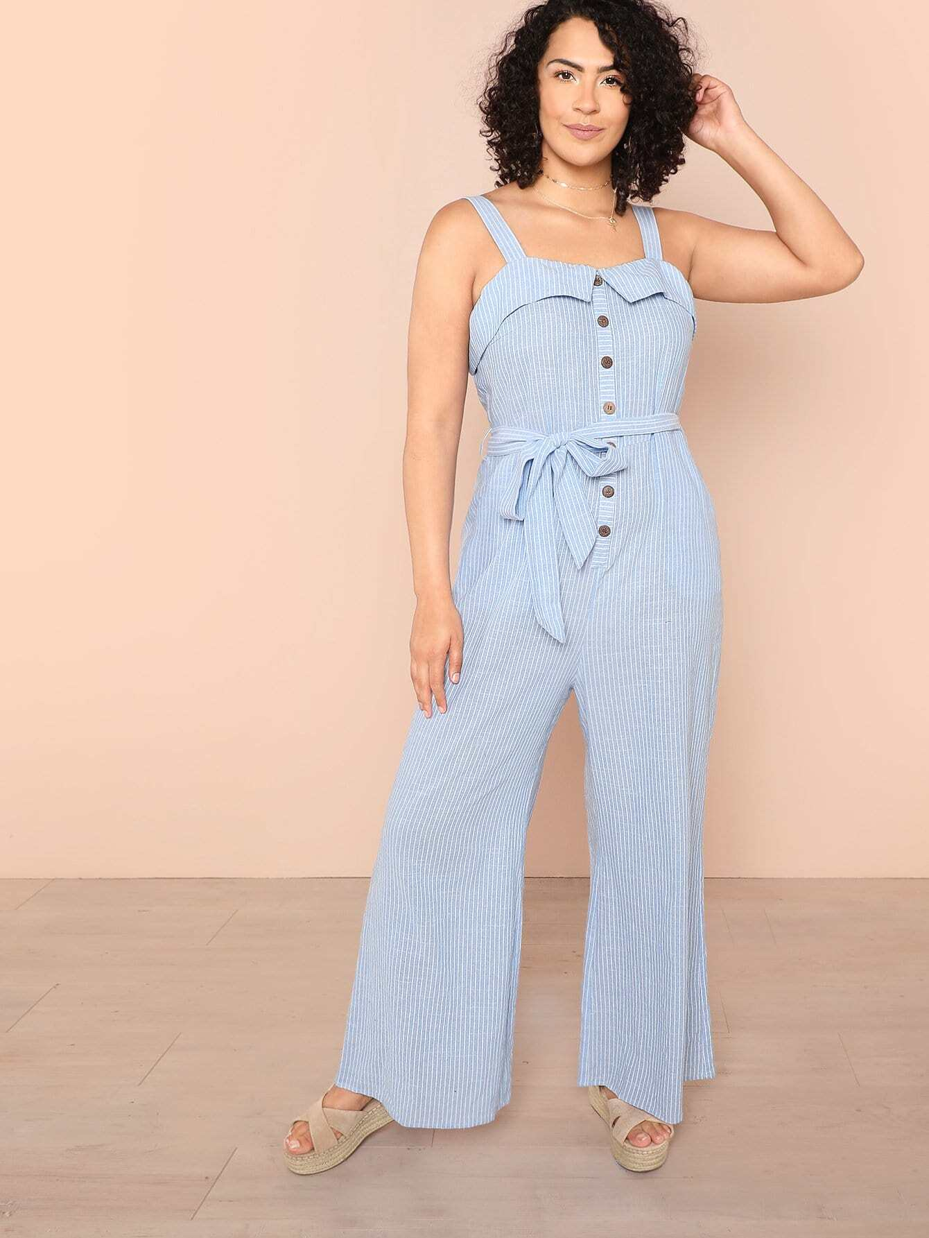 Button Front Foldover Front Wide Leg Striped Jumpsuit knot front wide leg printed jumpsuit