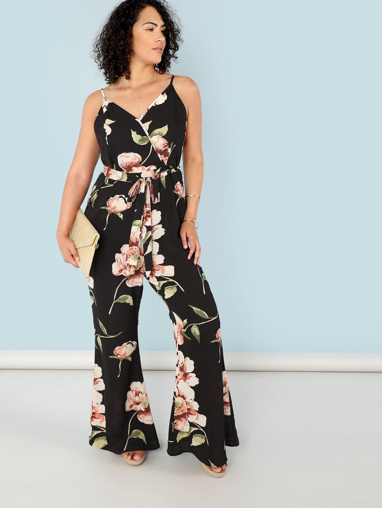 Floral Print Flare Leg Surplice Wrap Cami Jumpsuit halter surplice floral print jumpsuit