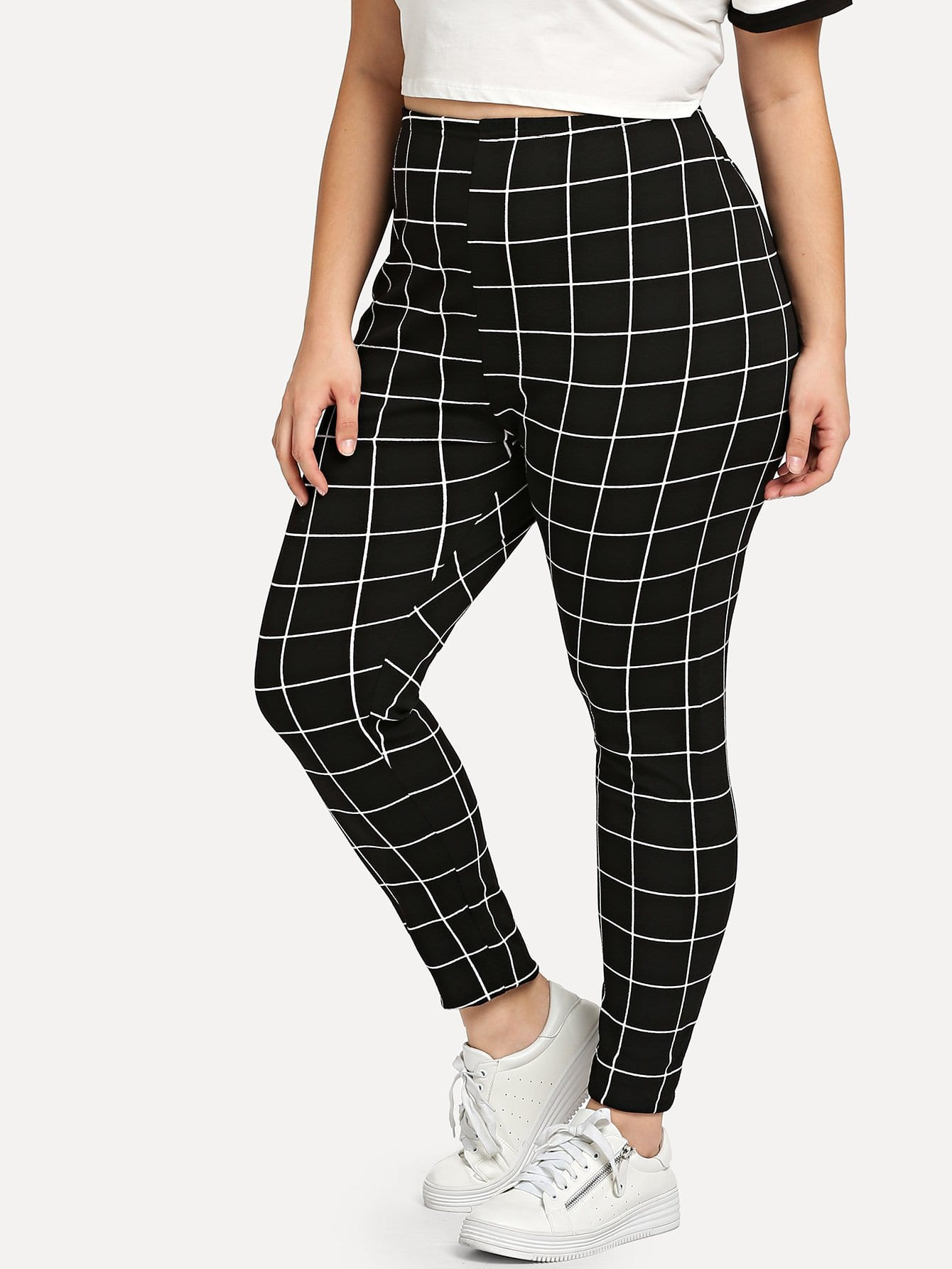 Plus Grid Print Leggings цена 2017