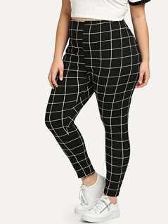 Plus Grid Print Leggings