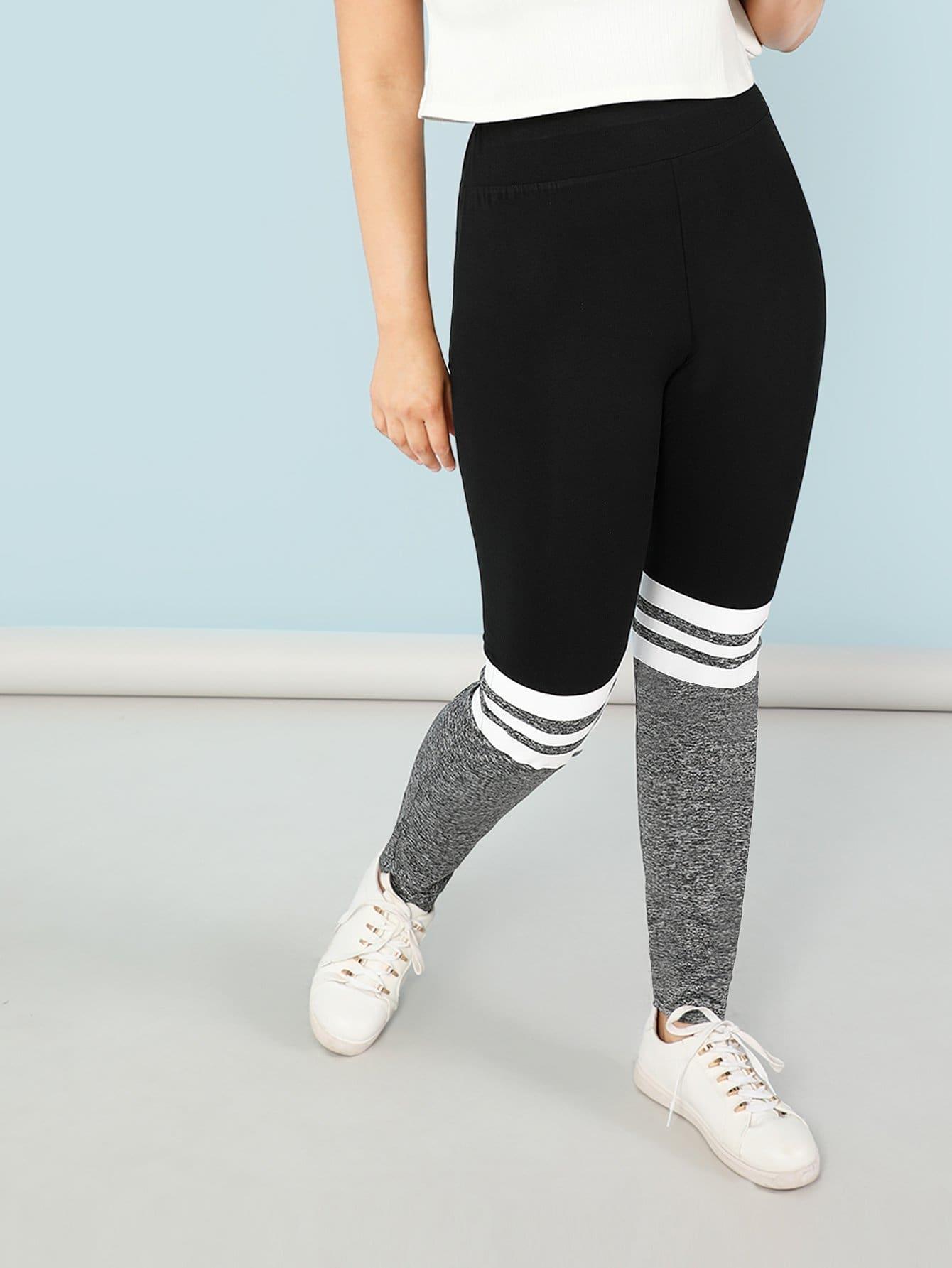 Plus Color Block Marled Stirrup Leggings marled knit topstitch stirrup leggings