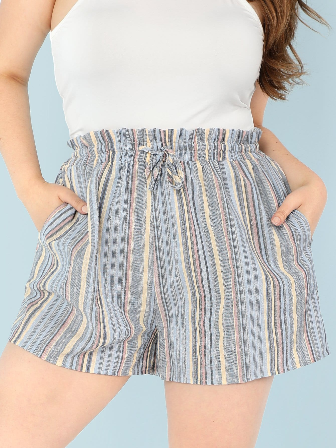 Plus Frill Waist Vertical-Stripe Shorts