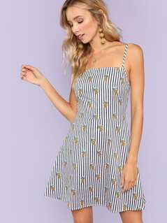 Pineapple and Striped Cami Dress