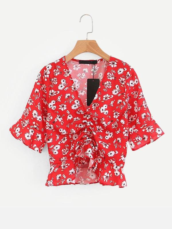 Calico Print Drawstring Front Ruffle Blouse drawstring front ruffle plaid blouse