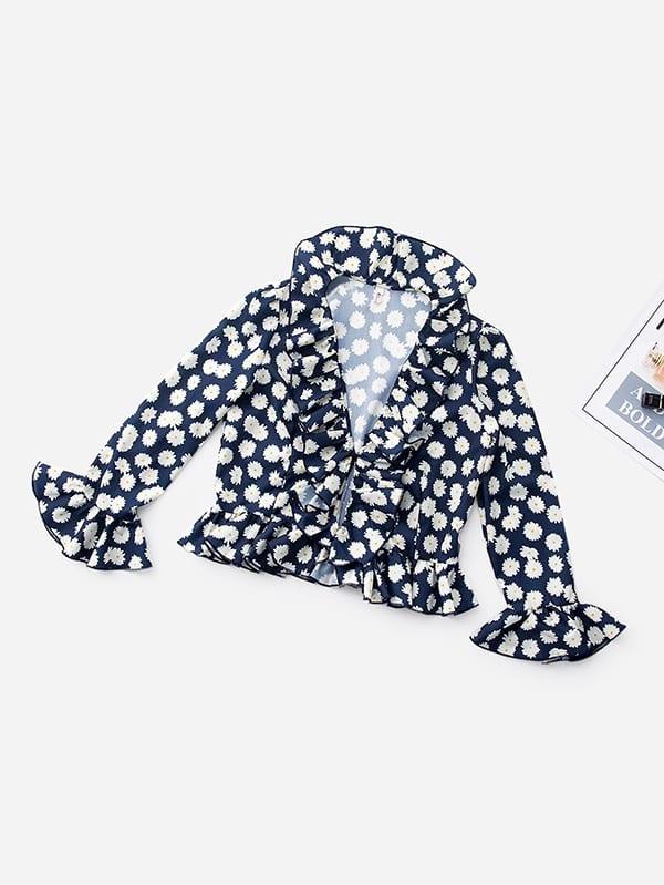 Daisy Print Ruffle Trim Blouse ruffle trim floral print blouse