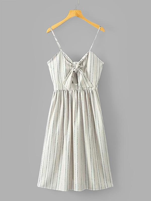 Купить Tie Front Striped Cami Dress, null, SheIn