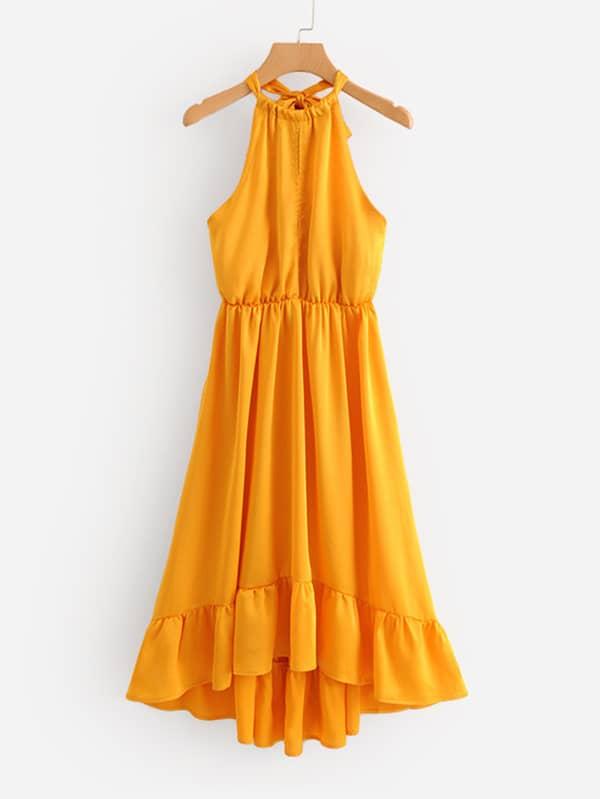 цена Ruffle Hem Halter Dress