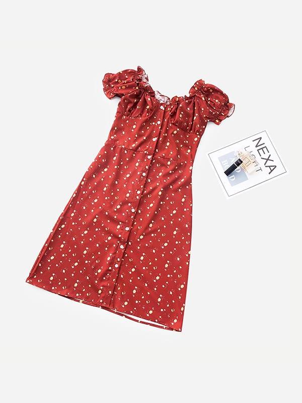 Купить Платье для обрезки одежды Calico Print, null, SheIn