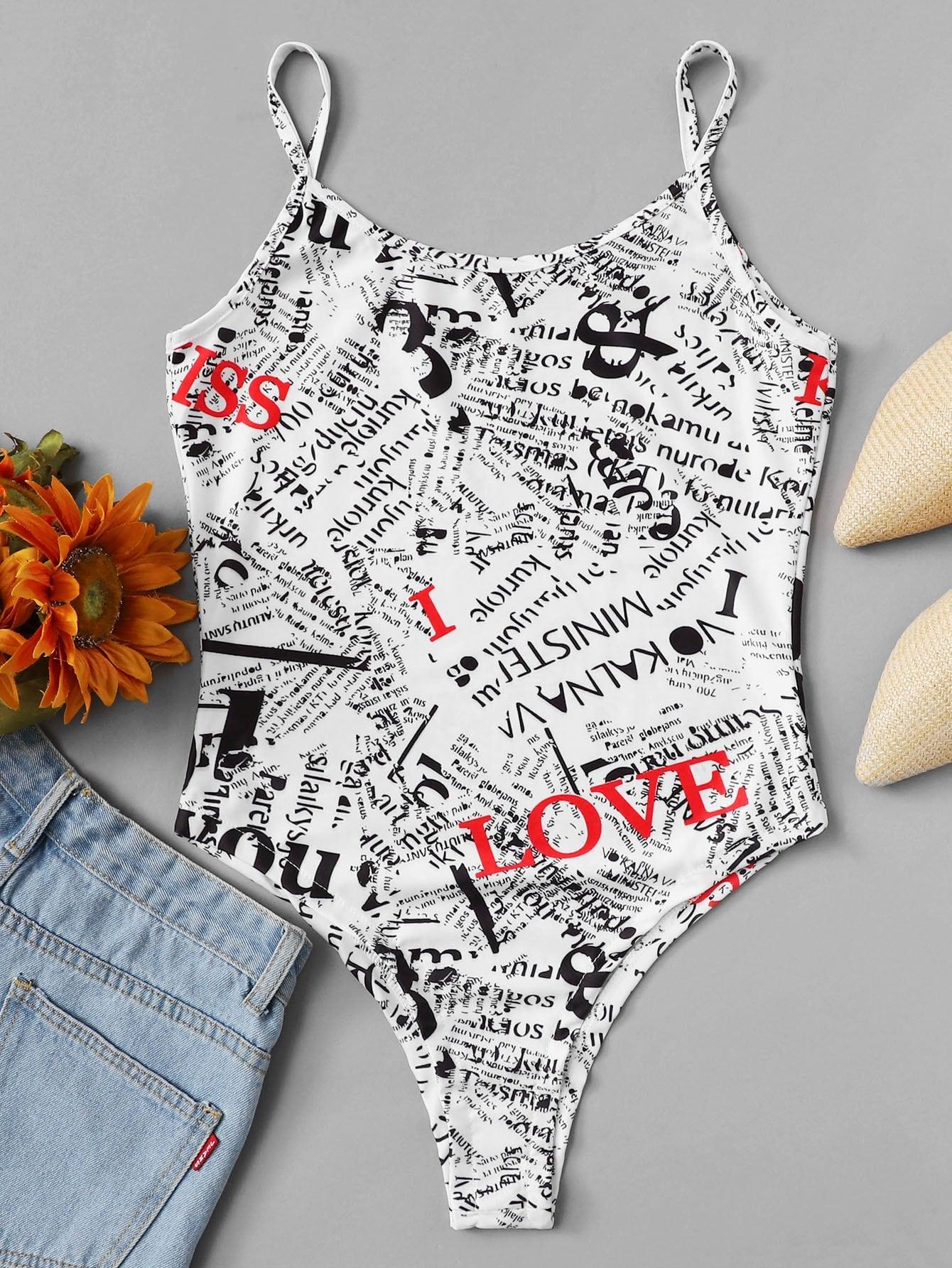 Allover Letter Print Cami Bodysuit