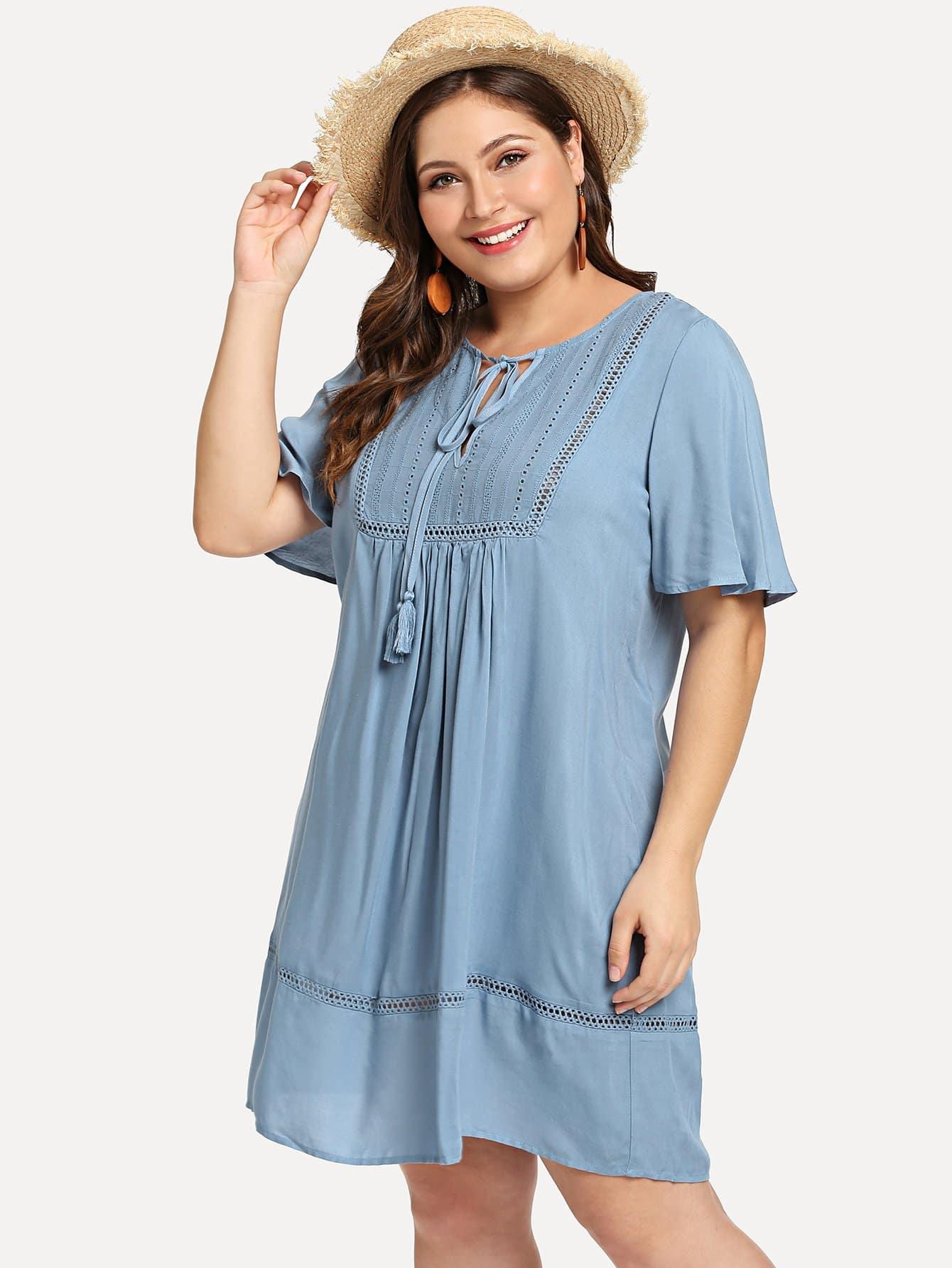 Tassel Tie Neck Lace Insert Tunic Dress