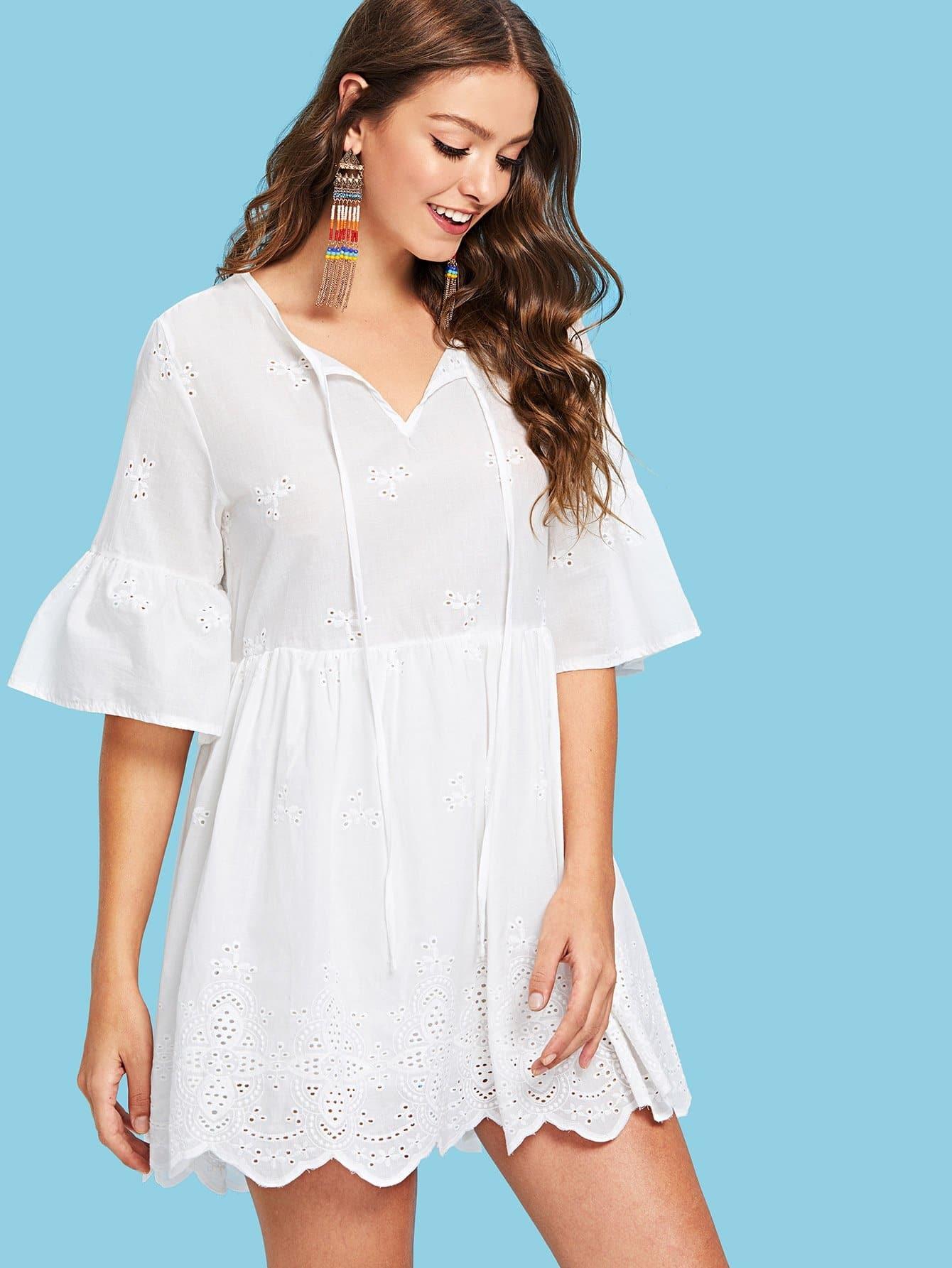 Flounce Sleeve Eyelet Embroidery Knot Neck Dress flounce sleeve eyelet embroidery dress
