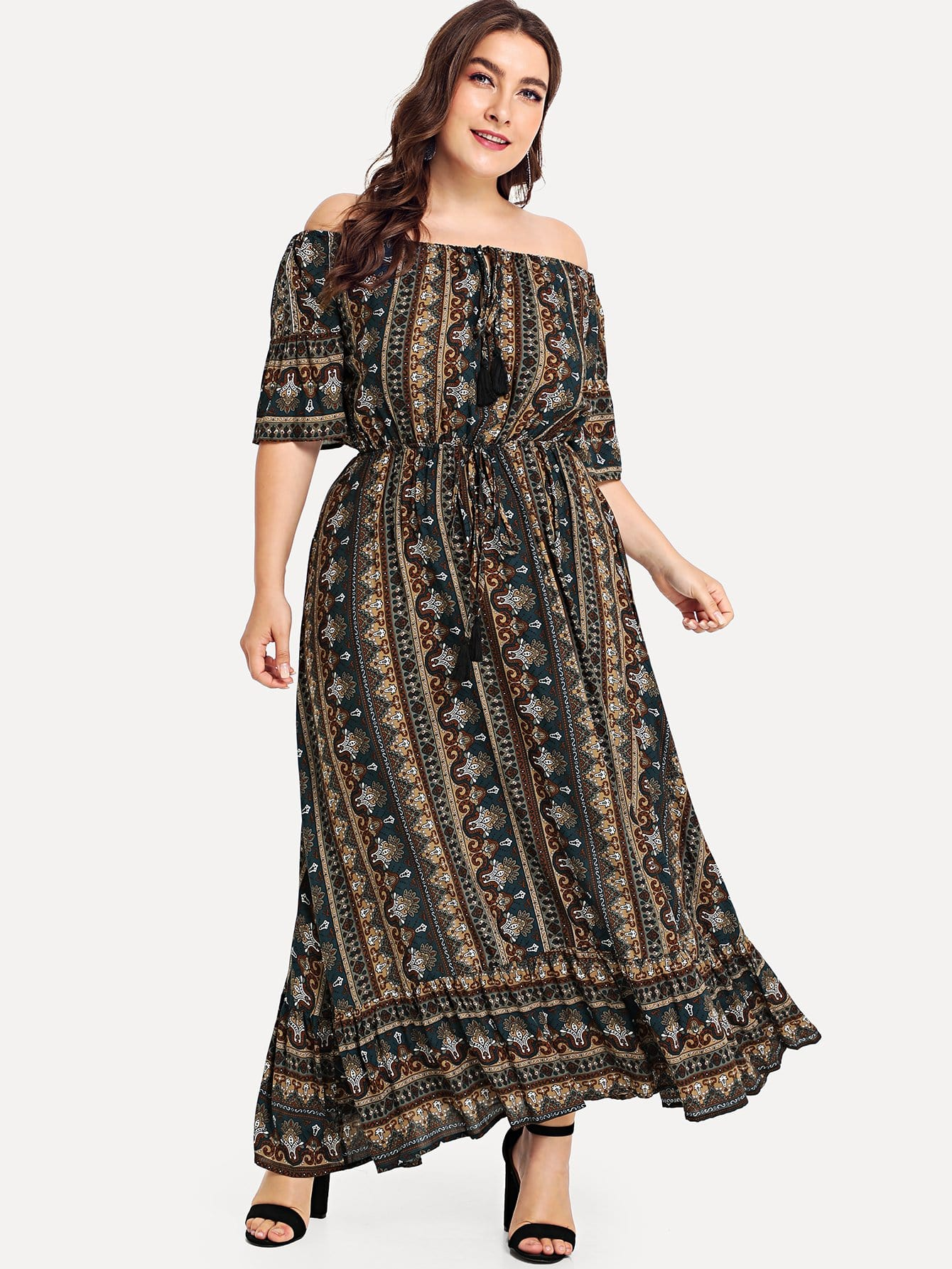 Plus Off Shoulder Tribal Print Dress