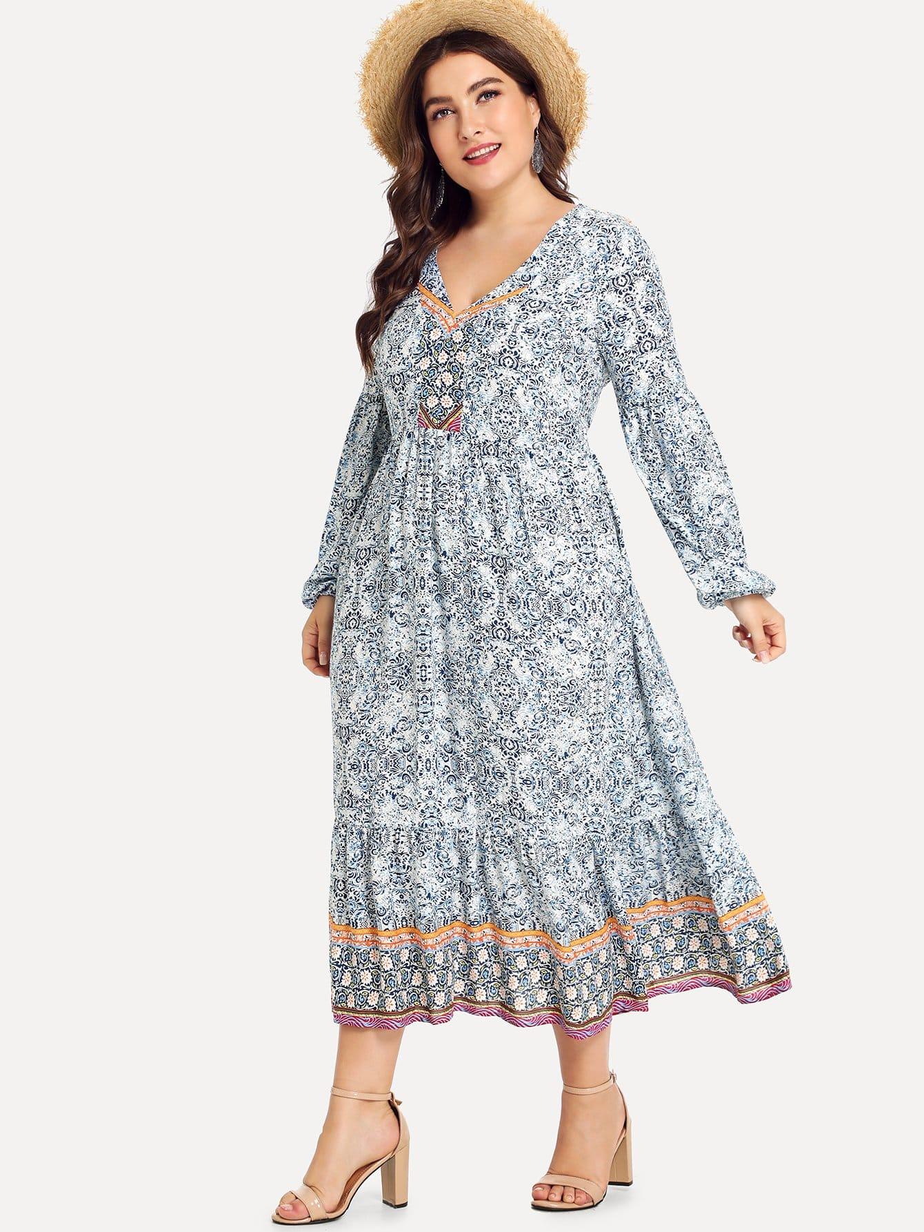Купить Платье с принтом микс с широкими рукавами, Franziska, SheIn
