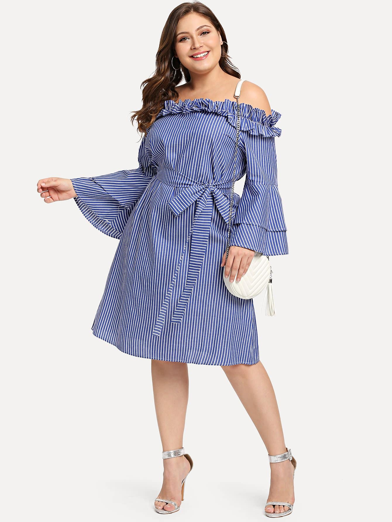 Plus Layered Trumpet Sleeve Belted Ruffle Bardot Dress bardot ruffle layered skater dress