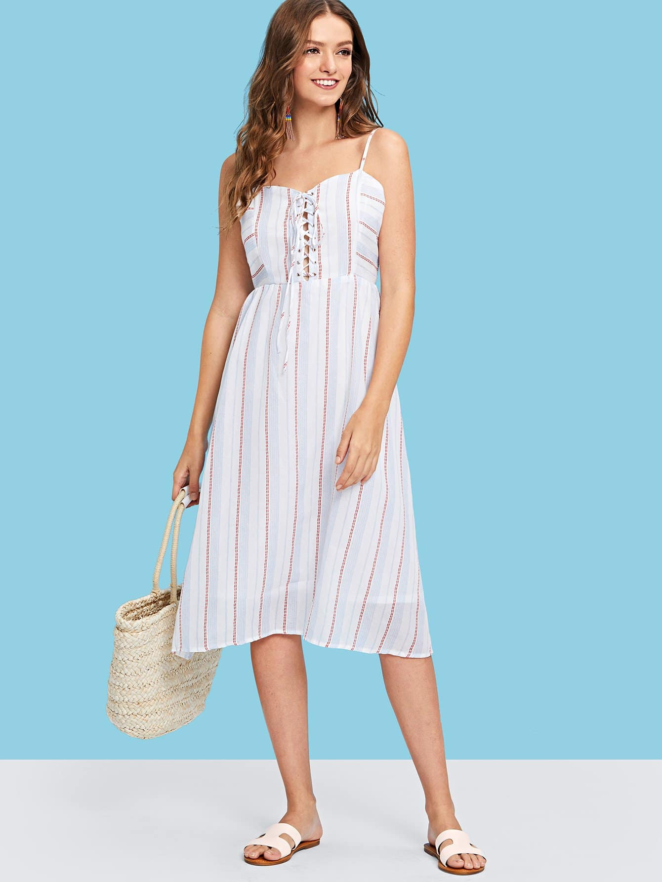 Lace-Up Front Striped Cami Dress lace up front striped sleeve dress