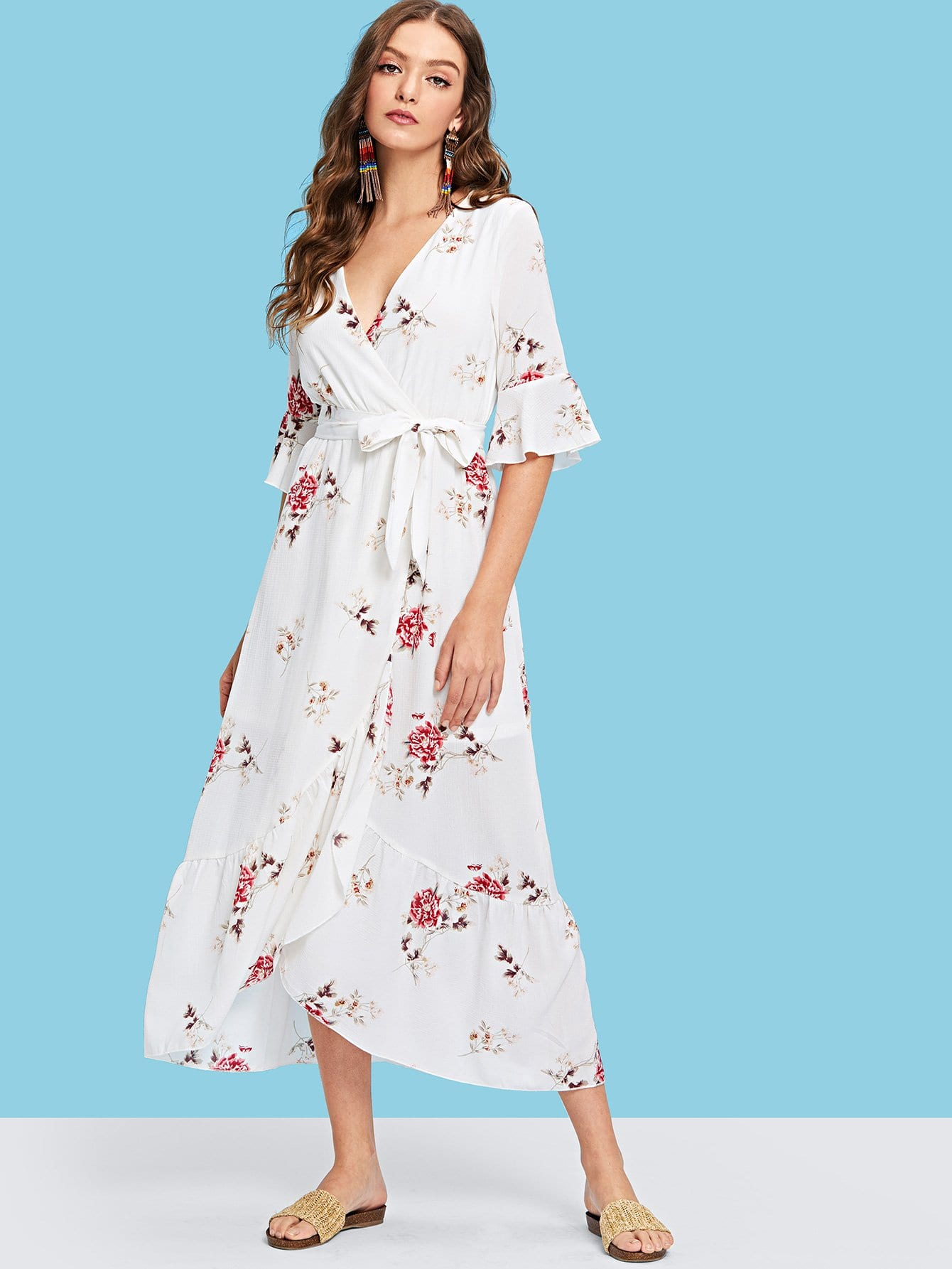 Купить Flounce рукав Surplice Wrap Belted Dress, Luiza, SheIn