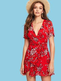 Surplice Neck Overlap Ruffle Trim Floral Dress