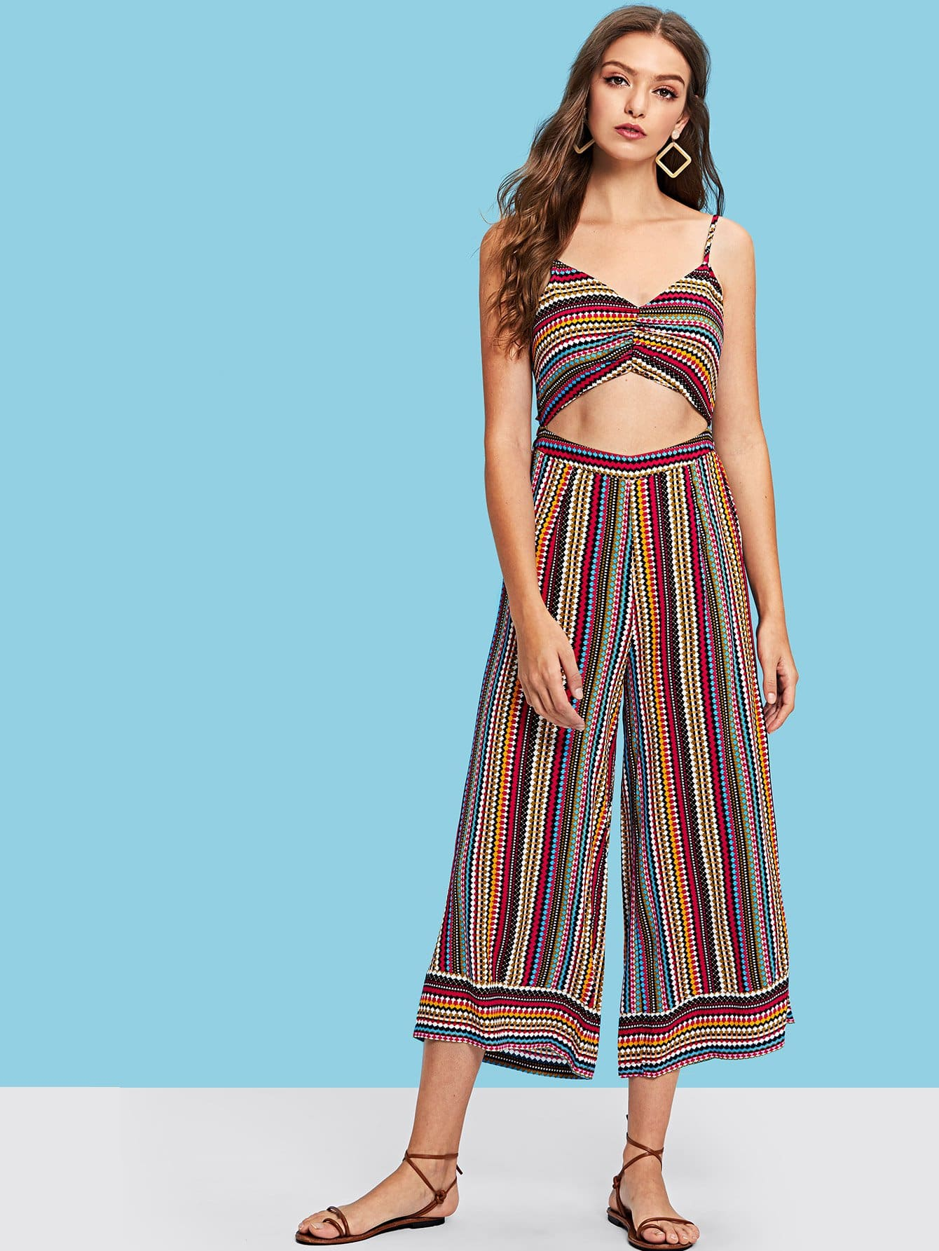 Ruched Front Cutout Midriff Striped Cami Jumpsuit drawstring front cutout midriff tropical jumpsuit