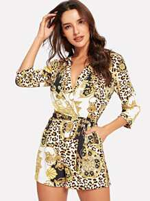 Wrap Belted Leopard Print Jumpsuit