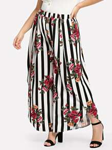 Plus Stripe & Flower Print Wide Leg Wrap Pants