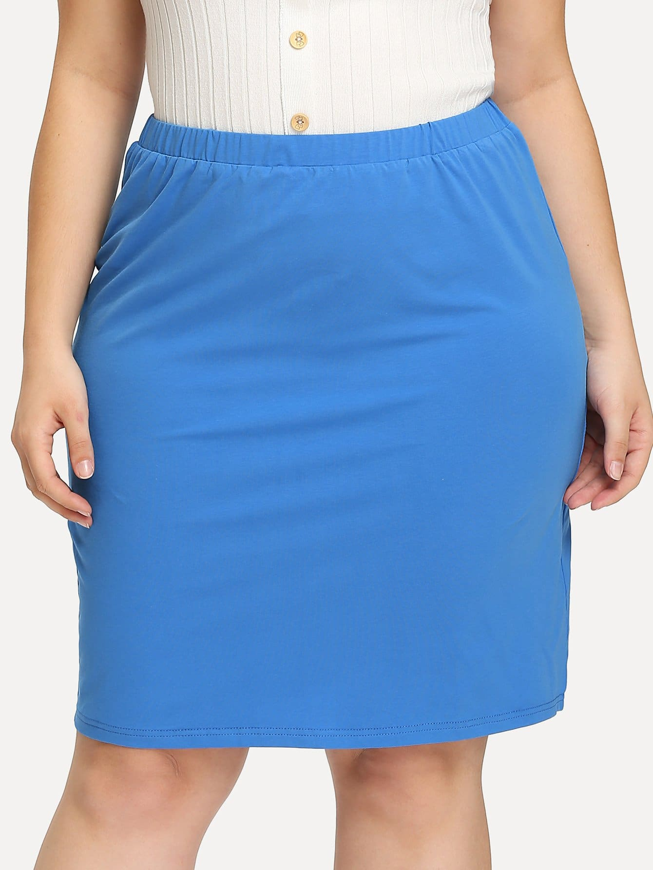 Plus Solid Pencil Skirt