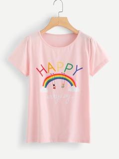 Rainbow Print Short Sleeve T-shirt