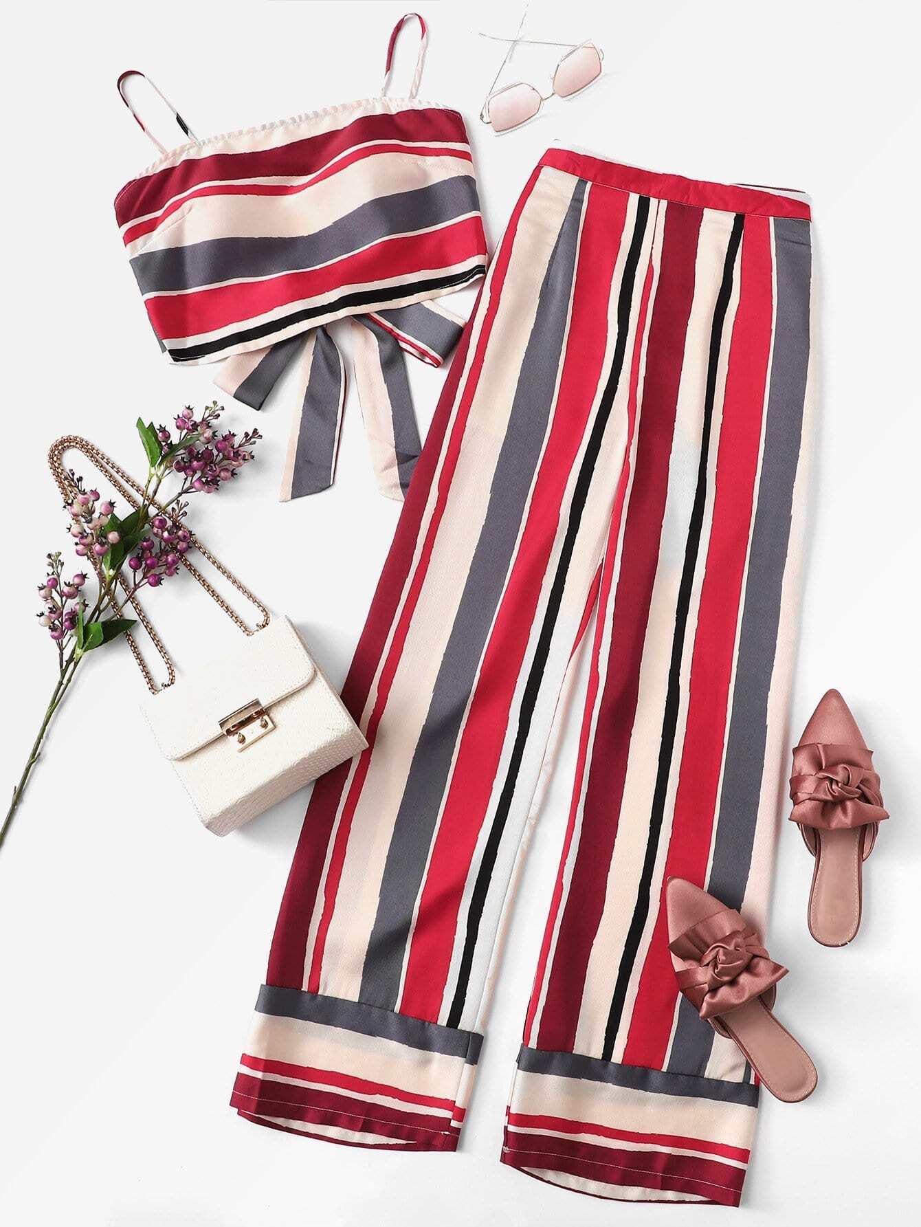 Купить Полосатый карандаш Cami Top & Широкие штаны для ног, null, SheIn