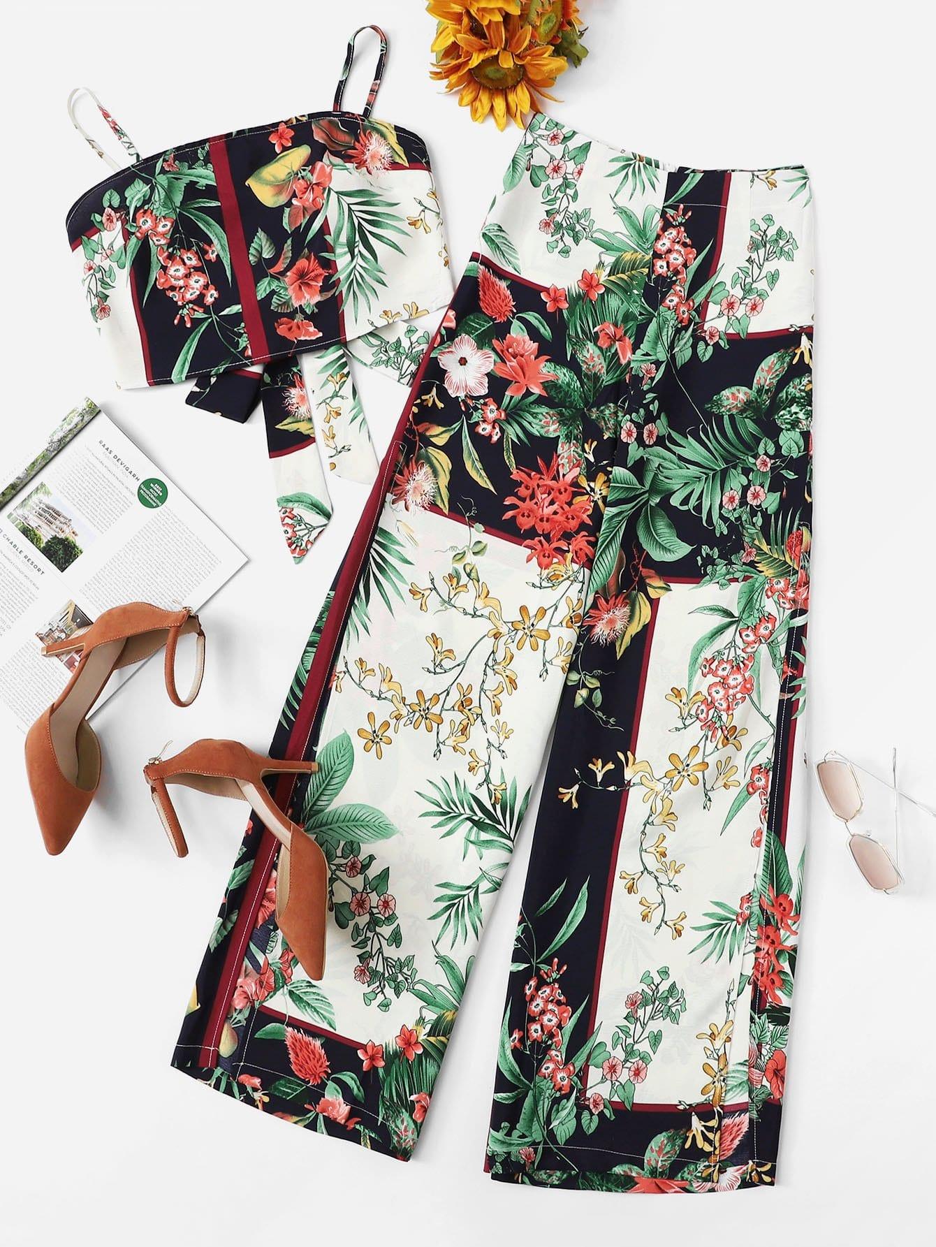 Купить Ботанические печатные верхние и широкие ножные штаны Co-Ord, null, SheIn