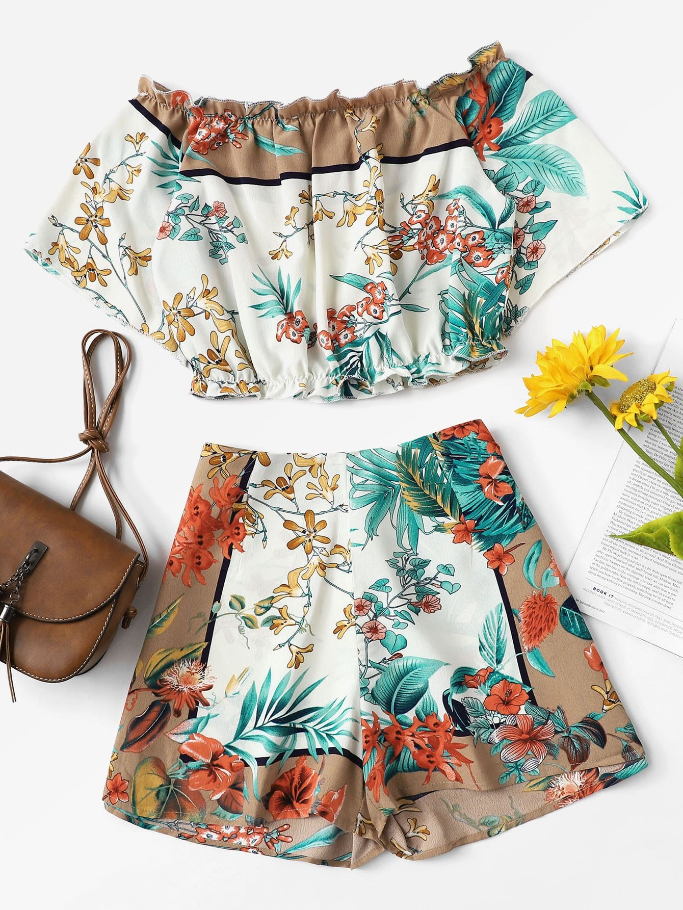 Купить Ботаническая печать Crop Bardot Top & Shorts Set, null, SheIn