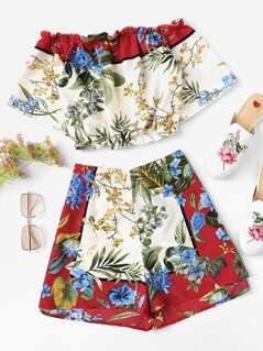 Botanical Print Crop Bardot Top & Shorts Set