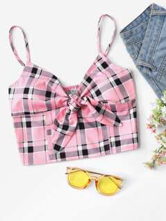 Knot Front Shirred Back Plaid Cami Top