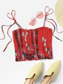 Self Tie Shoulder Floral Shirred Cami Top