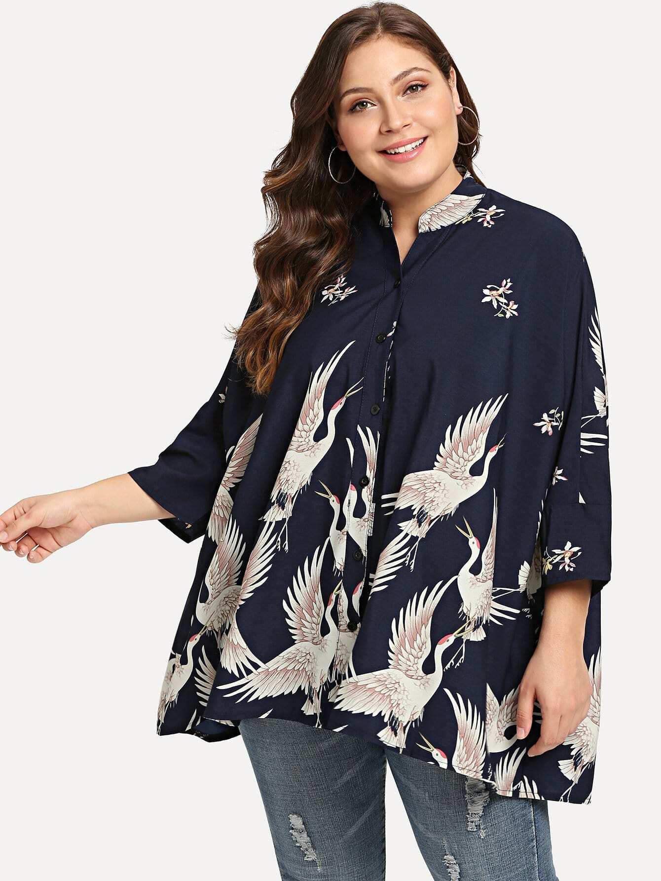 Plus Swan Print Drop Shoulder Shirt