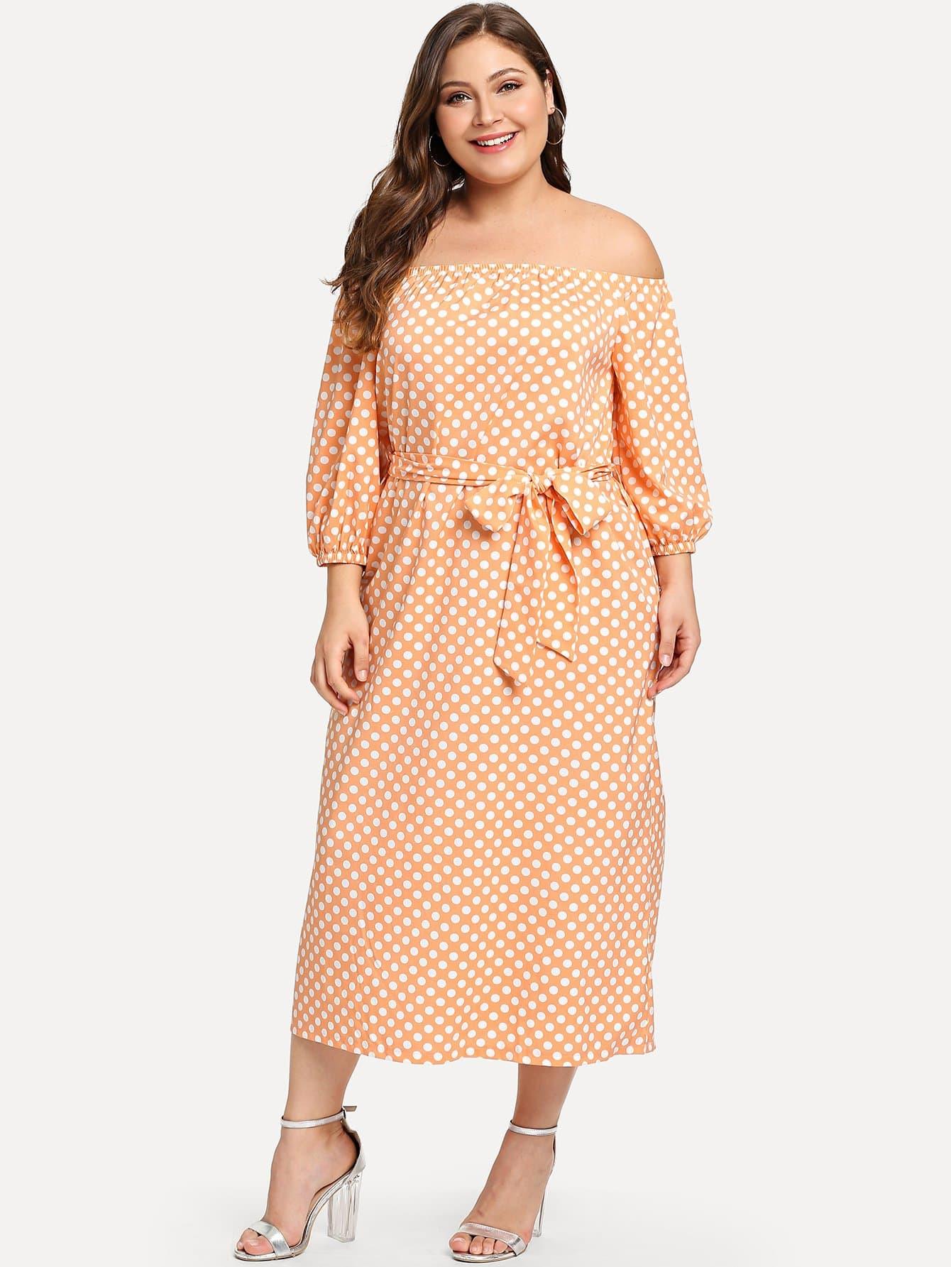 Купить Платье с повязкой из плеча с поясом, Carol, SheIn