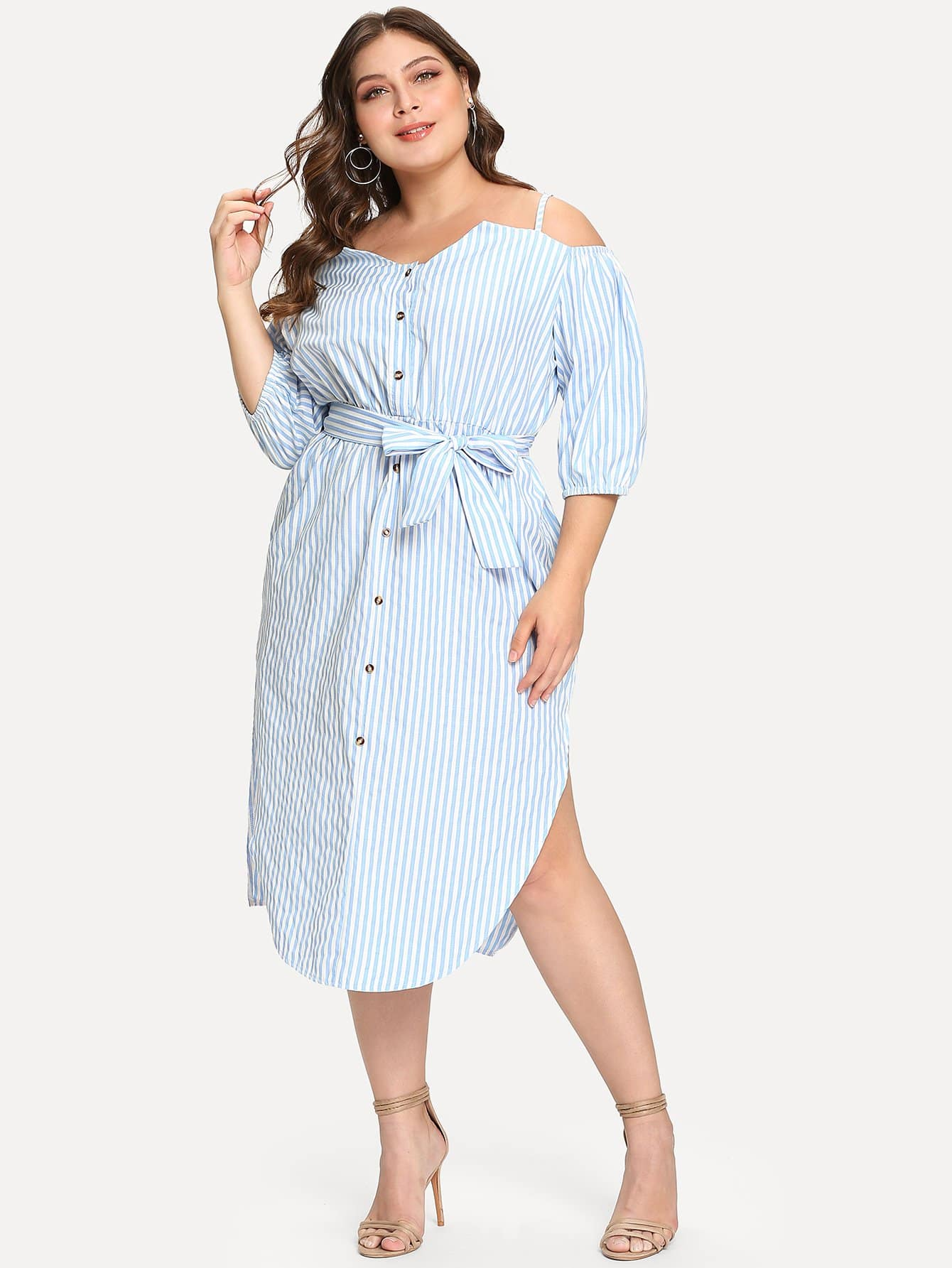 Купить Полосатое полосатое блузковое платье с поясом, Carol, SheIn