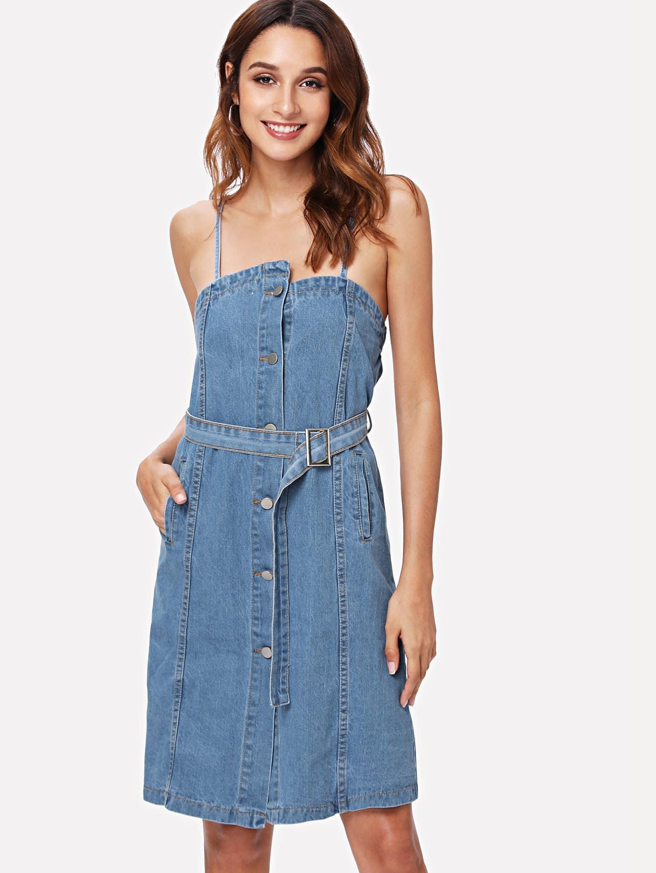Tie Waist Button Front Denim Cami Dress elastic waist button denim dress