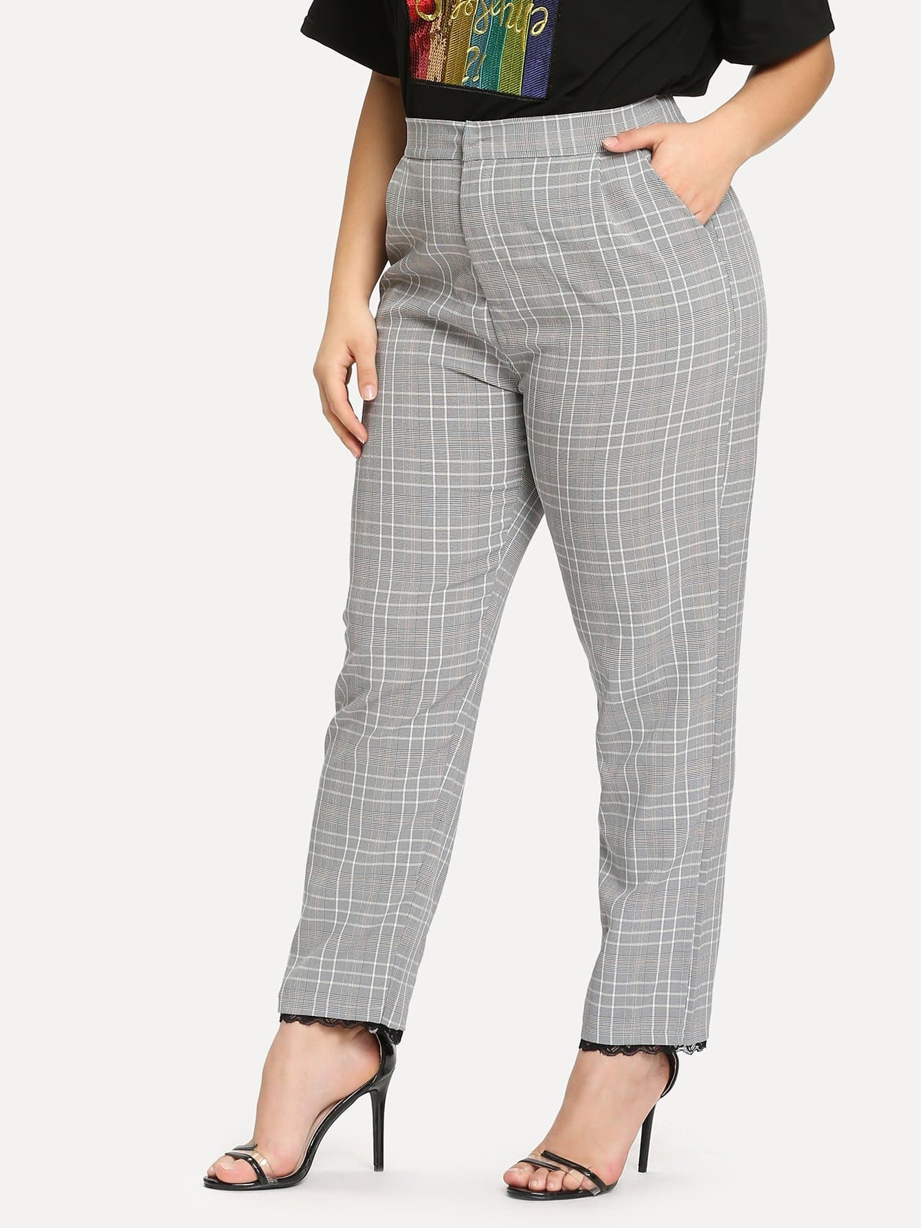 цена на Plus Lace Contrast Tartan Plaid Pants