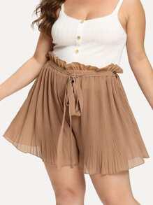 Plus Tie Waist Crinkle Shorts