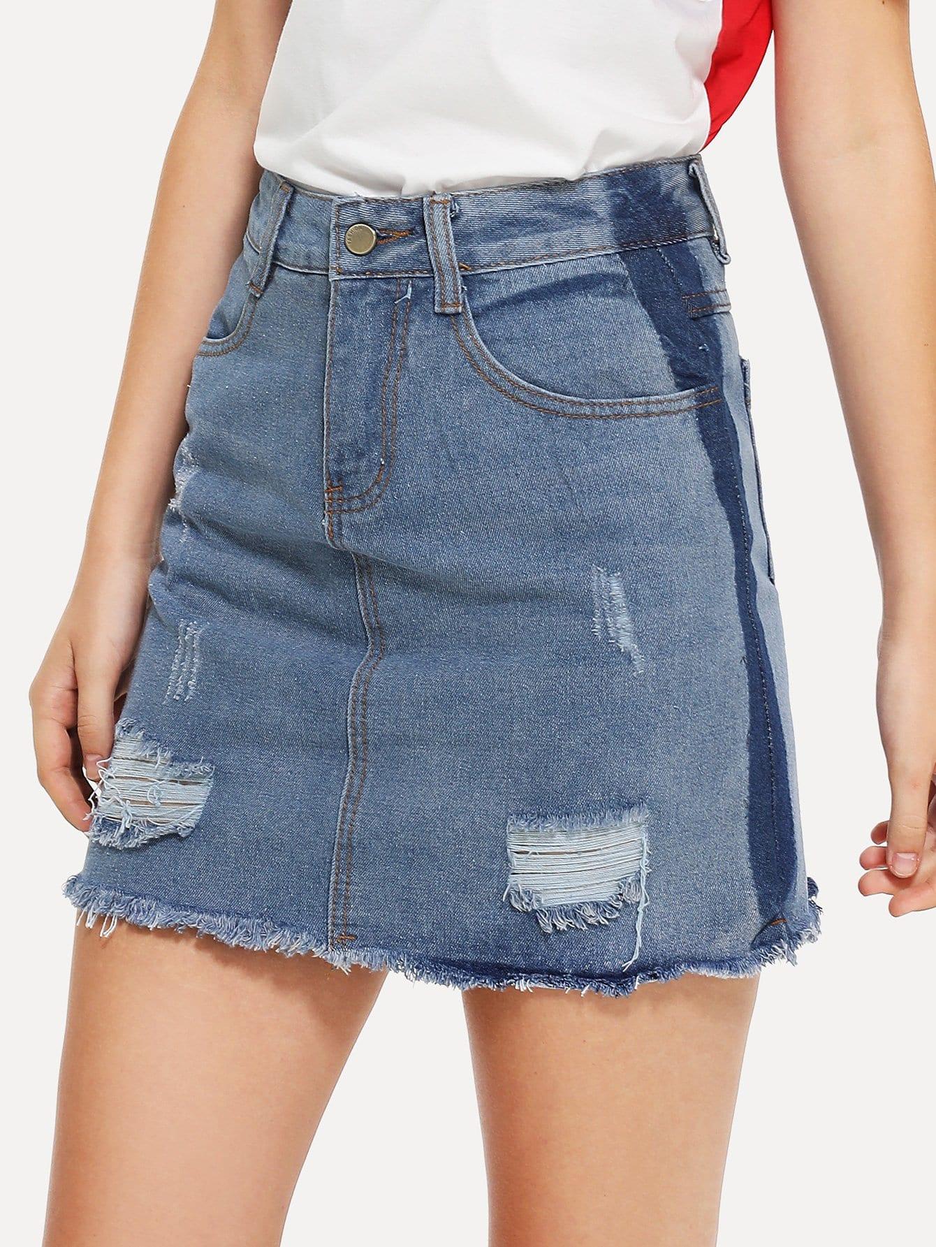 Купить Кружевная джинсовая юбка с необработанным краем, Teresa, SheIn