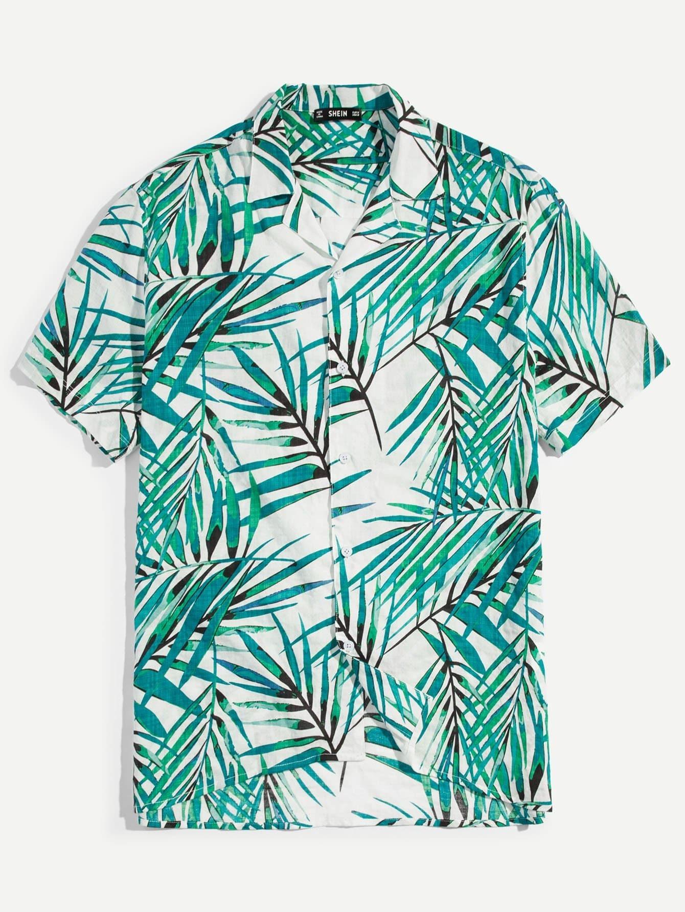 Мужчины Bamboo Leaf Print Button Фронтальные рубашки