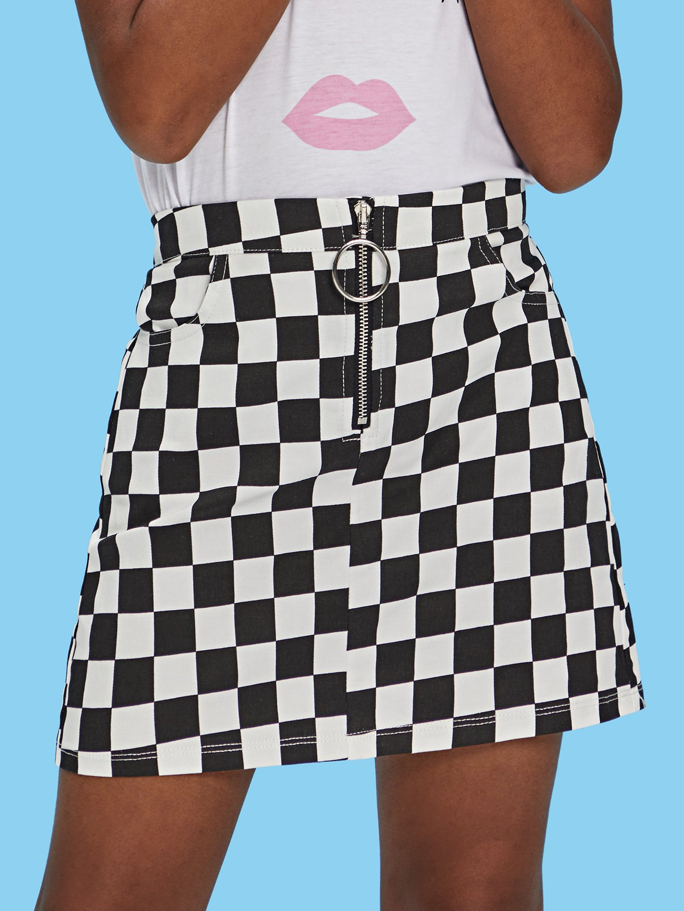 Girls O-Ring Zip Gingham Print A-Line Skirt chrysler a c line o ring 5080519aa