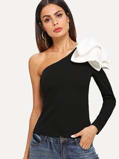 Asymmetrical Bow One Shoulder Top