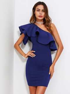 Flounce One Shoulder Form Fitting Dress