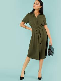 Roll Up Sleeve Belted Shirt Dress