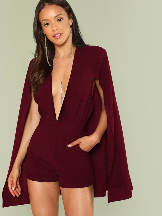 a34922cb115 Deep V-Neck Cape Sleeve Tailored Romper